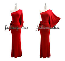 I2 RED KIMONO DRESS LONG One Shoulder Belted Jersey Full Length Cocktail S M L