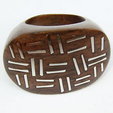 Ring RINGS Sterling Silver organic wood wooden ornate round HANDMADE AR090