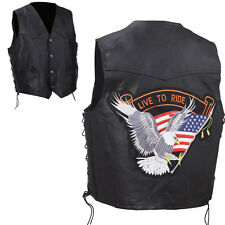 Genuine Black Leather Vest Live To Ride Eagle Patch Solid Biker Motorcycle Mens
