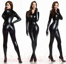 FASHIONWetlook Sexy Black Gothic Punk Zipper Front Overall Catsuit Romper @P7055