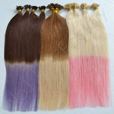 "18"" Nail Tip Human Remy Hair Extensions AAA grade Dip Dye Ombre 1 Gram Strands"