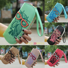 2015 Round Owl Clutch Checkbook Money Clip Change Bag Women Purse Handbag Wallet