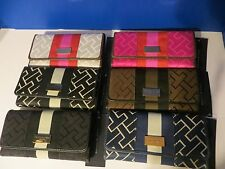 NWT Tommy Hilfiger Wallet Clutch Purse Ladies Trifold Brown Blue Pink Ribbon