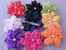 boutique RHINESTONE girls HAIR BOW pin up bridal PAGEANT prom 9 color choices