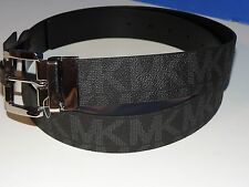 Michael Kors Black Gray Textured MK Signature Leather Reversible Belt All Size