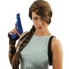 ADULTS BROWN PLAITED WIG TEMPLE HUNTER FILM CHARACTER FANCY DRESS VIDEO GAME