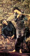 THE BEGUILING OF MERLIN NIMUE LADY OF LAKE SPELL PAINTING BY BURNE JONES REPRO
