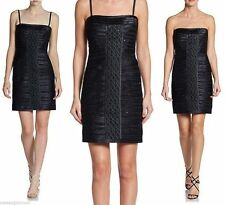 $408 BCBG Maxazria Moore Navy Satin Piped Lace Sequin Inset Strapless Dress