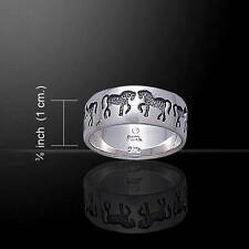 Engraved Horses Sterling Silver Ring - the perfect gift for the horse lover