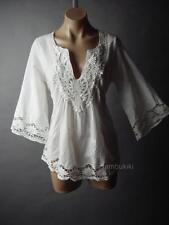 Peasant Embroidery Flared Bell Sleeve White Cotton Women Top 25 mv Blouse S M L