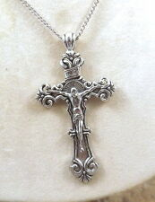 Large Pewter Crucifix Pendant on Silver Tone Link Necklace - 5128