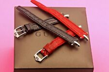 New Gucci 12 MM Watch Lizard Watch Band - for 1800L - Regular - Silver Hardware