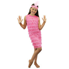 CHILDS PINK FLAPPER FANCY DRESS COSTUME GIRLS TASSEL 1920'S OUTFIT GATSBY KIDS
