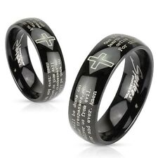 Black IP Cross Lords Prayer Stainless Steel Wedding Band Couple Mens Ring
