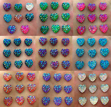 DIY 40pcs 12mm Heart AB Resin flatback Scrapbooking for phone/wedding/Crafts