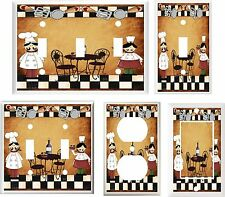 FAT CHEF PASTA BISTRO  BROWN BACKGROUND IMAGE # K 1 LIGHT SWITCH COVER PLATE