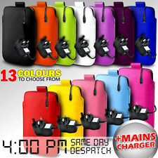 LEATHER PULL TAB POUCH CASE COVER + MAINS CHARGER FOR VARIOUS SAMSUNG PHONES