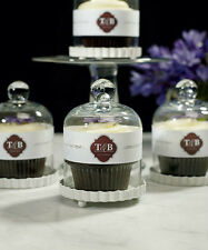 Wedding Favor Candy Cupcake Mini Bell Jar or Holder with White Fluted Base Party