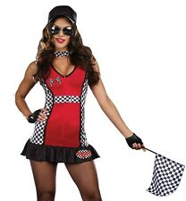 Womens Sexy Racecar Driver Flag Girl Halloween Costume