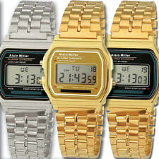 RETRO DIGITAL ARMBANDUHR EDELSTAHL OLDSCHOOL 80er STYLE DESIGN STOPPUHR WATCH