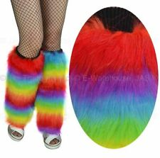 FLUFFY FURRY Fancy Dress Costume Cosplay Rave Dance Cyber Punk Leg Warmers Cover