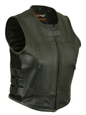 LADIES WOMENS ADJUSTABLE SWAT STYLE BIKER MOTORCYCLE VEST NAKED LEATHER - K1U