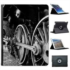 Black & White Old Train Wheels Folio Wallet Leather Case For iPad 2, 3 & 4