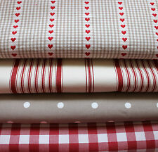 VINTAGE RED & BEIGE HEARTS & SPOTS TICKING STRIPE FABRIC REMNANT BUNDLE
