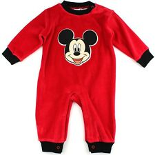 Mickey Mouse Infant Baby Red Velour Coverall Sleeper 031680MM Disney
