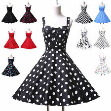 Vintage Halter Polka dot Swing 50's Housewife pinup Rockabilly Retro Women Dress