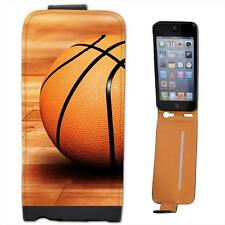 Basketball Sat On Wooden Court Floor Leather Flip Case for Apple iPhone 5s
