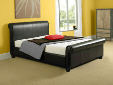Monza 4ft6 Double 5ft King Modern Leather Sleigh Bed Frame with Mattress Deal