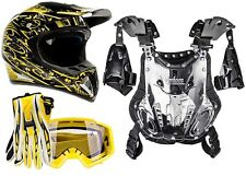 ADULT Motocross Dirtbike ATV Gear- Helmet Gloves Goggles Chest Protector YELLOW