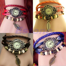 Pretty Women Retro Leather Bracelet Tree leaf Decoration Quartz Wrist Watch