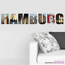 Wall Tattoo HAMBURG City Decal Sticker Adhesive Optional Color & Size
