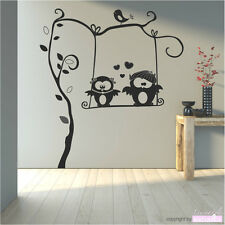 Wall Decal Sticker Tattoo Owl Swing Fritz & Lotte Owl Couple Home Decor