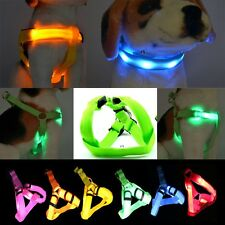 ANY SIZE & COLOR -3 Modes LED Light Flashing Pet Dog Safety Chest Strap HARNESS