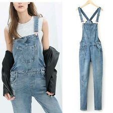 New Womens Boyfriend Washed Denim Straps Overall Long Jeans Pants Jumpsuits