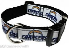 """SAN DIEGO CHARGERS (WH) 1"""" NFL PET DOG COLLAR - Med webbing for extra comfort"""