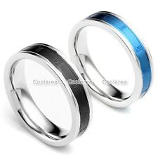 Mens Womens Stainless Steel Carved Roman Numerals Wedding Engagement Band Ring