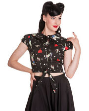 Hell Bunny Forever Dead Shirt Top Black Zombie Pinup Tattoo Goth Rockabilly