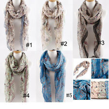 Summer Womens Long Voile Print Bird Beach Scarf Neck Wrap Shawl Scarves