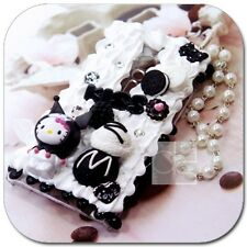 Black Hello Kitty Whipped Cream Bling Hard Skin Case Cover with Wristlet For LG