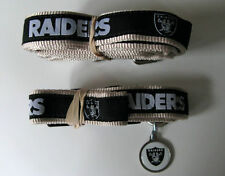 NEW OAKLAND RAIDERS PET SET PREMIUM DOG COLLAR LEASH & ID TAG ALL SIZES