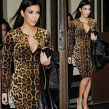 Sexy Womens Fashion Leopard Long Sleeve Clubwear Evening Party Cocktail Dress