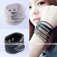 Multi-layer Faux PU Leather Wire Circle Wide Bangle Bracelet Fashion Jewerly HOT