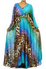 BLUE Leopard FULL SWEEP Chiffon Wrap MAXI DRESS Gown SHEER Long Skirt CRUISE  1X