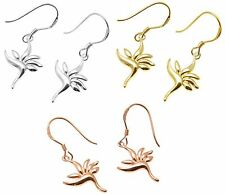 YELLOW ROSE GOLD PLATED SILVER 925 HAWAIIAN BIRD OF PARADISE WIRE HOOK EARRINGS