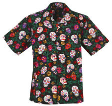 Sugar Skulls Calaveras Day of the Dead Hawaiian Camp Shirt by David Carey