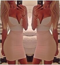 Women Sexy Bodycon Bandage braces Tight Deep V-neck Party Exposed Short dress